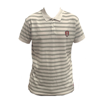 Adult White Striped Polo